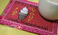 EAT ICE CREAM Mug Mat/Mug Rug In The Hoop design.  Instant Download - Embroidery by EdytheAnne - 4