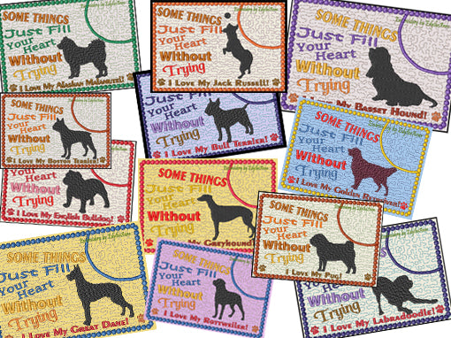 AWESOME DOG BREEDS - Choose Your Breed In The Hoop Machine Embroidery Mug Mat/Mug Rug Set 3