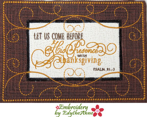 """COME INTO HIS PRESENCE"" Faith Based Mug Mat/Mug Rug - 2 Sizes Included"