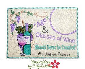 AGE & GLASSES OF WINE In The Hoop Whimsical Embroidered Mug Mats/Mug Rugs.   - Digital File - Instant Download