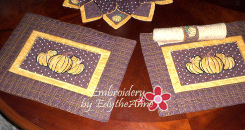 FALL/THANKSGIVING PLACEMAT  In The Hoop Machine Embroidery - Embroidery by EdytheAnne