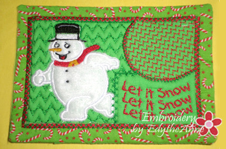 LET IT SNOW...LET IT SNOW...MUG MAT/MUG RUG In The Hoop Embroidery Design - Embroidery by EdytheAnne - 1