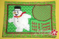 LET IT SNOW...LET IT SNOW...MUG MAT/MUG RUG In The Hoop Embroidery Design