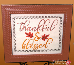 THANKFUL & BLESSED CANVAS WORD ART Frameable Canvas-  In The Hoop Machine Embroidery