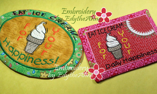 EAT ICE CREAM Mug Mat/Mug Rug In The Hoop design.  Instant Download - Embroidery by EdytheAnne - 1