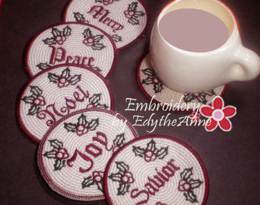 WORDS OF CHRISTMAS COASTERS -  INSTANT DOWNLOAD - Embroidery by EdytheAnne - 1