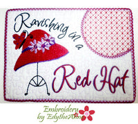 RED HAT Whimsical In The Hoop Embroidered Mug Mats/Mug Rugs.  - Digital File