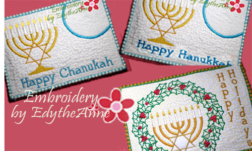 HAPPY HANUKKAH/CHANUKAH/HOLIDAY MUG MATS/Mug Rugs  - Instant Download. - Embroidery by EdytheAnne - 1