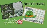 Set of Two ST. PATRICKS DAY In The Hoop Machine Embroidered Mug MatMug Rug.  INSTANT DOWNLOAD
