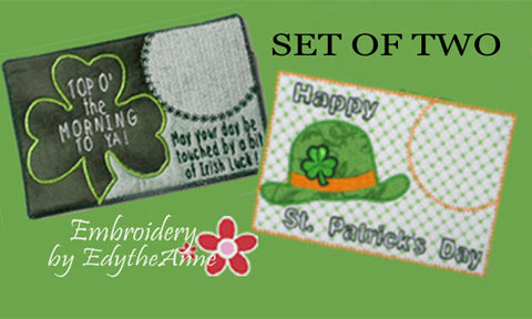 Set of Two ST. PATRICKS DAY In The Hoop Machine Embroidered Mug MatMug Rug.  INSTANT DOWNLOAD - Embroidery by EdytheAnne - 1