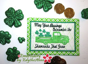 SHAMROCK BLESSINGS MUG MAT/MUG RUG In The Hoop Embroidery Design