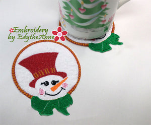 SNOWMAN COASTER - - IN THE HOOP MACHINE EMBROIDERY-DIGITAL DOWNLOAD