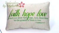 "Accent Throw Pillow  ""Faith, Hope, Love"" Machine Embroidery Design"