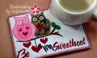 Be My SweetHoot Valentine Mug Mat/Mug Rug 2 Versions. 2 Sizes - INSTANT DOWNOAD - Embroidery by EdytheAnne - 5
