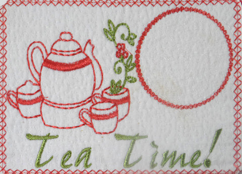TEA TIME In The Hoop Mug Mat/Mug Rug. Easy and quick.  - Digital File