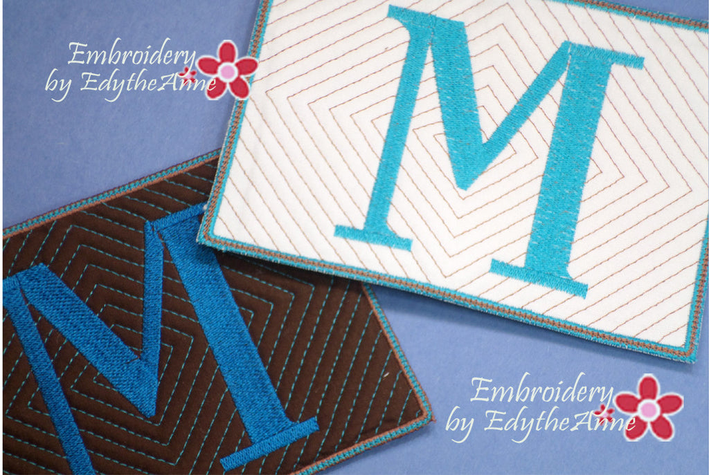 MONOGRAM MUG MATS VERSION 3 - INSTANT DOWNLOAD - Embroidery by EdytheAnne - 1