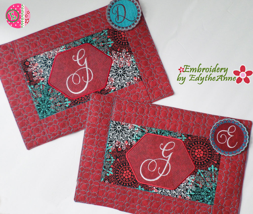 MONOGRAM IN THE HOOP MACHINE EMBROIDERY PLACEMATS