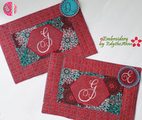 ELEGANT MONOGRAM PLACE MATS  In The Hoop Machine Embroidery Design
