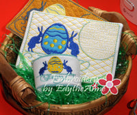 VINTAGE EASTER In The Hoop Embroidered Mug Mat & Matching Napkin Ring. Digital File. INSTANT DOWNLOAD