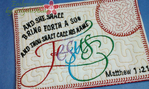 Matthew 1:21 HIS NAME SHALL BE CALLED JESUS MUG MAT/Mug Rug. In The Hoop  INSTANT DOWNLOAD - Embroidery by EdytheAnne - 1