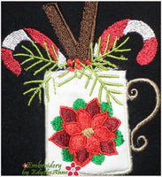 CHRISTMAS MUG APPLIQUE Machine Embroidery Design