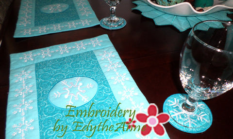 Winter Place Mat In The Hoop - INSTANT DOWNLOAD - Embroidery by EdytheAnne - 1