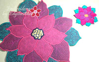 POINSETTIA CENTERPIECE or TRIVET  In The Hoop Project -INSTANT DOWNLOAD - Embroidery by EdytheAnne - 5