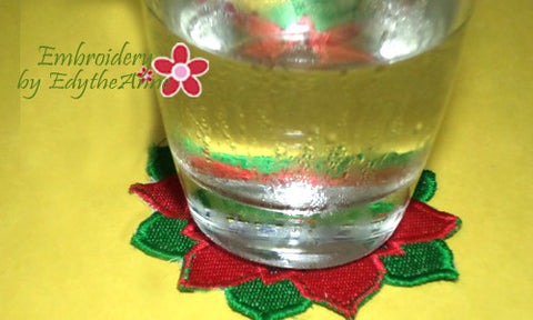 POINSETTIA COASTER- IN THE HOOP MACHINE EMBROIDERY - Embroidery by EdytheAnne - 1