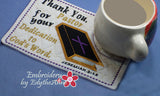 PASTOR APPRECIATION -This is an ITH Embroidered Mug Mat/Mug Rug.  - Digital File - Instant Download - Embroidery by EdytheAnne - 3
