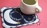 LOVE YOU TO THE MOON... In The Hoop Embroidered Mug Mats/Mug Rugs.  Digital File.Available immediately. - Embroidery by EdytheAnne - 3