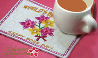 WORLD'S BEST BOSS Mug Mat/Mug Rug  - Digital File - Instant Download - - Embroidery by EdytheAnne - 3