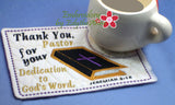 PASTOR APPRECIATION -This is an ITH Embroidered Mug Mat/Mug Rug.  - Digital File - Instant Download - Embroidery by EdytheAnne - 2
