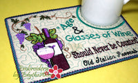 AGE & GLASSES OF WINE In The Hoop Whimsical Embroidered Mug Mats/Mug Rugs.   - Digital File - Instant Download - Embroidery by EdytheAnne - 4