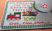 CHRISTMAS EXPRESS In The Hoop Embroidered Mug Mat Designs.   - Digital File - Instant Download - Embroidery by EdytheAnne - 4