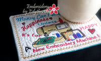 EMBROIDERY HAPPINESS Whimsical In The Hoop Embroidered Mug Mat Designs.   - Digital File - Instant Download - Embroidery by EdytheAnne - 3