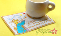 LISTEN AS HIS ANGELS SING Christmas Mug Mat/Mug Rug.  - INSTANT DOWNLOAD - Embroidery by EdytheAnne - 3