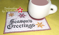 SEASON'S GREETINGS In The Hoop Embroidery Mug Mat Design -  Embroidery by EdytheAnne