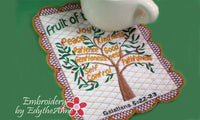 FRUIT OF THE SPIRIT FAITH BASED IN THE HOOP MACHINE EMBROIDERY MUG MAT/MUG RUG - Embroidery by EdytheAnne