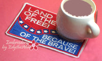 .July 4th In The Hoop Patriotic SET OF 4 MUG MAT SET- INSTANT DOWNLOAD - Embroidery by EdytheAnne - 6