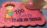 IT'S TOO EARLY WHIMSICAL MUG MAT Available in two sizes. INSTANT DOWNLOAD - Embroidery by EdytheAnne - 4