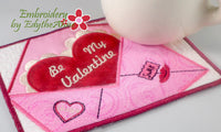 BE MY VALENTINE In The Hoop Embroidered Mug Mats/Mug Rugs - Instant Download - Embroidery by EdytheAnne - 2