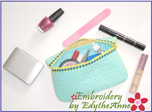 ZIPPERED IN THE HOOP MACHINE EMBROIDERY TOILETRY BAG