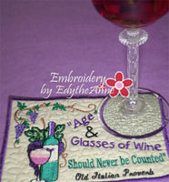 AGE & GLASSES OF WINE In The Hoop Whimsical Embroidered Mug Mats/Mug Rugs.   - Digital File - Instant Download - Embroidery by EdytheAnne - 2