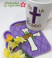 HE IS RISEN CROSS MUG SHAPED In The Hoop Embroidered Mug Mat/Mug Rug  - Digital Download