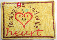 TEACHING WORK OF THE HEART IN THE HOOP MUG MAT/MUG RUGS SET. Machine Embroidery