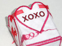 VALENTINE BOX showing love and kiss finished side - Machine Embroidery Designs - In the hoop embroidery project - by EdytheAnne - 5