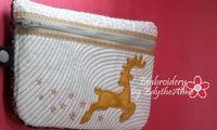 CHRISTMAS WRISTLET IN THE HOOP BAG -with Reindeer Applique  INSTANT DOWNLOAD - Embroidery by EdytheAnne - 2
