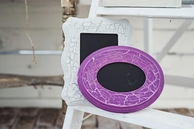 crackled paint - painted white and purple picture frames - chalkboard picture frames with crackle paint finish