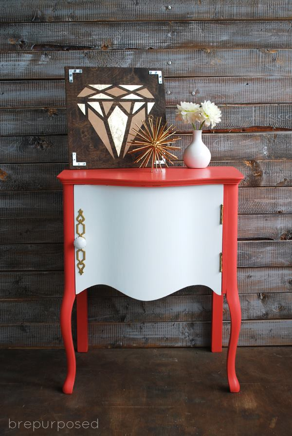 glossy modern coral and white nightstand painted with eco-friendly DIY furniture paint by Country Chic Paint