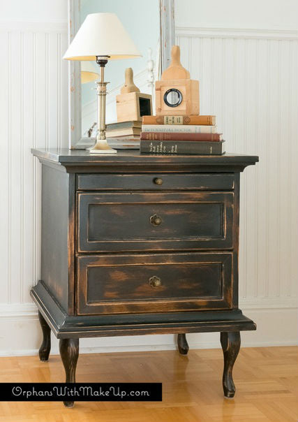 shabby chic black distressed nightstand painted with eco-friendly DIY furniture paint by Country Chic Paint
